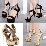 รองเท้าส้นสูง ไซต์ 34-40 สีดำ สีเงิน