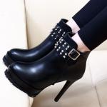 รองเท้าบูทดำหนังสีดำ ไซต์ 34-39