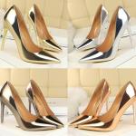 รองเท้าส้นสูงปลายแหลมสีทอง/เงิน/เทา/แชมเปน ไซต์ 34-39
