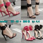 รองเท้าส้นสูงสายรัดข้อหัวใหญ่สีชมพู/ดำ ไซต์ 35-40