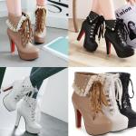 รองเท้าบูทหุ้มข้อแต่ผ้าโปร่งสีน้ำตาล/ดำ/ขาว ไซต์ 34-43