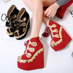 รองเท้าส้นเตารีด ไซต์ 34-40 สีดำ สีแดง (รองเท้าส้นตึก)