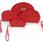 เซ็ตกระเป๋าผ้า Oil cloth กันน้ำ สีแดง ลายจุด 4 ใบ-พร้อมส่ง