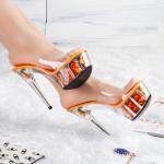 รองเท้าส้นสูงส้นแก้ว ไซต์ 34-43