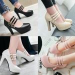 รองเท้าส้นสูงสายคาดหน้าสามเส้นสีดำ/ขาว/ชมพู/ครีม ไซต์ 34-43