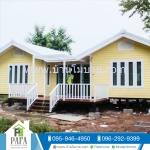 บ้านน็อคดาวน์ บ้านแฝด ขนาด 4*6 ทรงจั่ว 2หลัง (2ห้องนอน 2ห้องน้ำ 1 ห้องครัว 1 ห้องโถง)