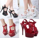 รองเท้าส้นสูง ไซต์ 35-40 สีดำ/แดง/ขาว