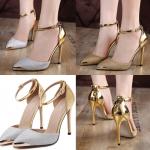 รองเท้าส้นสูง ไซต์ 35-40 สีเงิน สีทอง