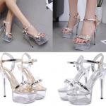 รองเท้าส้นสูงส้นแก้วใสพื้นสีเงิน/ทอง ไซต์ 34-43