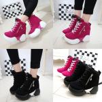 รองเท้าผ้าใบเสริมส้น ไซต์ 35-39 สีดำ/ชมพู