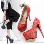 รองเท้าส้นสูง ไซต์ 34-39 สีดำ/แดง