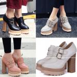 รองเท้าส้นสูง ไซต์ 34-42 สีดำ/ขาว/เทา/ชมพู
