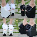 รองเท้าส้นสเตารีด ไซต์ 34-38 สีดำ/ขาว