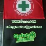 ธงอพยพหนีไฟผ้าต่วนสีแดง - เสาสแตนเลส