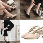 รองเท้าส้นสูงปลายแหลมสีนู๊ด/ดำ ไซต์ 35-39