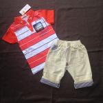 เสื้อ+กางเกง สีส้ม แพ็ค 5 ชุด ไซส์ 130-130-140-140-140
