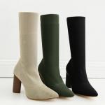 รองเท้าส้นสูง ไซต์ 35-40 สีดำ/ครีม/เขียวขี้ม้า