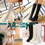 รองเท้าบูทส้นสูงผ้าลูกไม้โปร่งสีดำ/ขาว/ครีม ไซต์ 34-43