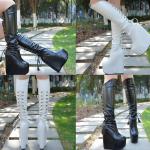 รองเท้าบูทส้นเตารีดยาวสีดำ/ขาว ไซต์ 34-38