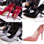 รองเท้าส้นสูง ไซต์ 34-39 สีดำ สีแดง สีเทา สีชมพู