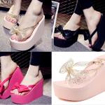 รองเท้าส้นสูงฟองน้ำสีชมพู ดำ ชมพูอ่อน ไซต์ 34-38