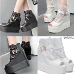 รองเท้าส้นเตารีด ไซต์ 34-39 สีดำ สีขาว (รองเท้าส้นตึก)