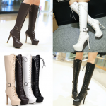 รองเท้าบูทส้นสูงยาวสีขาว/ดำ/ครีม/น้ำตาลเข้ม ไซต์ 34-43