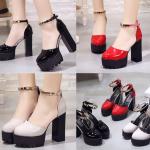 รองเท้าส้นสูงส้นหนาสีแดง/ดำ/ครีม ไซต์ 34-39