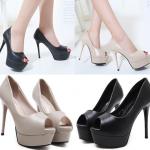 รองเท้าส้นสูงสีครีมมุกเปิดหน้า/สีดำ ไซต์ 34-38