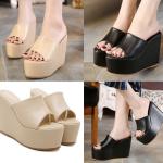 รองเท้าส้นเตารีด ไซต์ 34-39 สีดำ/ครีม