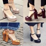 รองเท้าส้นสูงสีน้ำตาล/ดำ/ครีม/แดง ไซต์ 34-39