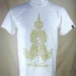 เสื้อลายไทย LineThai T-shirt เสื้อยืดคอกลม ลายยักษ์ (Yak) สีดำสกรีนทอง