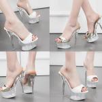 รองเท้าส้นสูงส้นแก้วคริสตัลแบบสายคาดสีทอง/ขาว ไซต์ 34-39