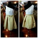 ชุดราตรีสีเหลืองสั้น ทูโทน สดใสน่ารัก สไตล์สาวแบ๊ว