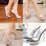 รองเท้าส้นแก้ว ไซต์ 35-43 สีดำ สีขาว (สีพื้น)