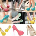 รองเท้าคัดชูส้นสูงเปิดหน้าสีเหลือง/ชมพู/ฟ้า/ครีม/เขียวอ่อน ไซต์ 34-43