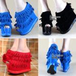 รองเท้าส้นเตารีด ไซต์ 34-38 สีดำ/แดง/น้ำเงิน
