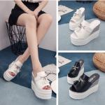 รองเท้าส้นเตารีด ไซต์ 35-39 สีดำ,ขาว