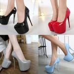 รองเท้าส้นสูงหนังแก้วสีแดง/ดำ/เทา/ฟ้า ไซต์ 34-40