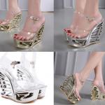 รองเท้าส้นเตารีดแบบส้นสวยเก๋สีเงิน/ทอง ไซต์ 34-41