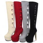 รองเท้าบูทส้นสูง ไซต์ 34-39 สีดำ/แดง/ครีม/เทา
