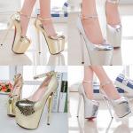 รองเท้าส้นสูง ไซต์ 34-43 สีเงิน สีทอง