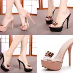 รองเท้าส้นสูงแบบสวมสีดำ/ชมพู ไซต์ 34-39