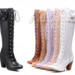 รองเท้าบูทยาวน่ารักๆ สีดำ/ขาว/ชมพู/แอพพริคอท/ม่วง ไซต์ 34-43