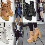 รองเท้าส้นสูงส้นหน้าหุ้มข้อสีน้ำตาล/ดำ/ขาว ไซต์ 34-39