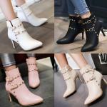 รองเท้าบูทส้นสูงสีชมพู/ครีม/ดำ/ขาว ไซต์ 34-43