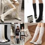 รองเท้าบูทยาวส้นเตารีดผ้าลูกไม้โปร่งสีดไ/ขาว/ครีม ไซต์ 34-43