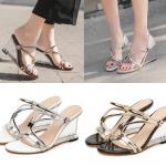 รองเท้าส้นเตารีดส้นใสสีเงิน/ดำ ไซต์ 35-40