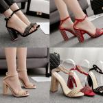 รองเท้าส้นสูงแต่งคริสตัลเม็ดเล็กสวยหรูสีดำ/แดง/ครีม ไซต์ 35-40