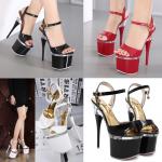 รองเท้าส้นสูง ไซต์ 34-40 สีดำ/แดง/ขาว